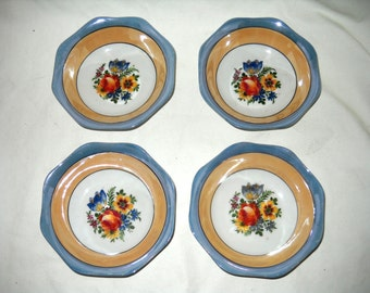 Four Vintage Porcelain, Luster Glazed Berry Bowls, Made in Germany