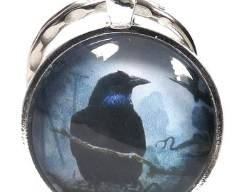 Gothic Raven Silver Plated Glass Cabochon Keychain