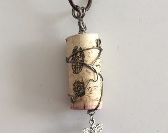 Wine Cork Necklace, WIre Wrapped Corks, Wine Cork and Charms Necklace, Cork Jewelry