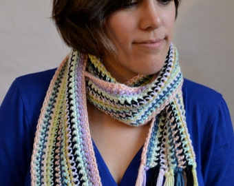 Crochet scarf: Wrap-Around-Multi-Colored Scarf, Long, for men and women