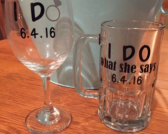 "His and Hers ""I Do"" glasses"