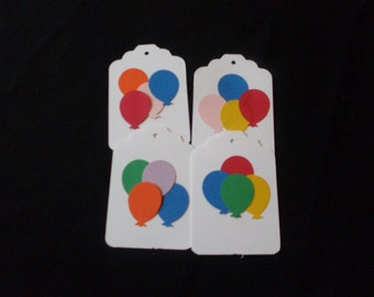 Die Cut White or Brown Gift tag with colored balloons 25 count