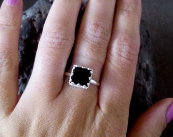 SALE! Black Onyx Ring,Gemstone Band,Lace Ring,Sterling Silver Ring ,Square Band,Prong Set,Onyx Jewelry