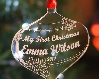 Personalised Christmas Tree Decoration My First Christmas Bauble Gift