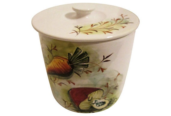 italian hand painted kitchen canister