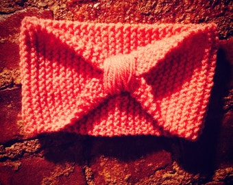 Knitted headband, ear warmer, cinched, pink, womens