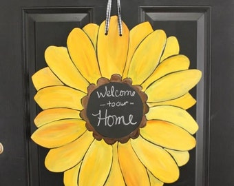 Gerber Daisy/Sunflower Door Hanger with Chalkboard