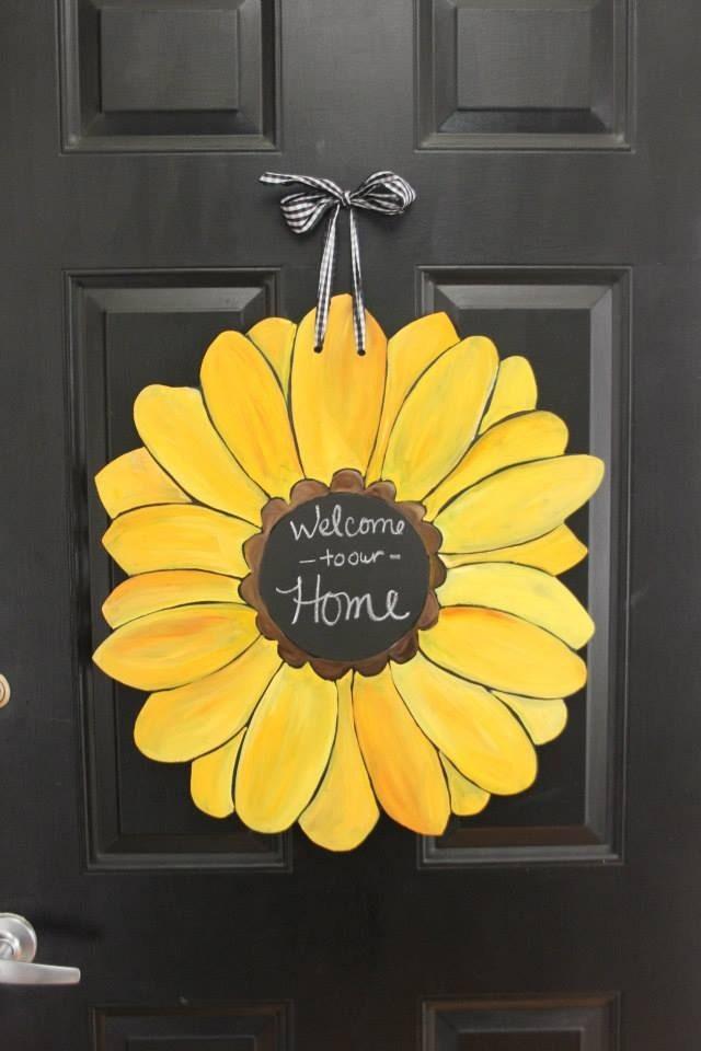 Gerber Daisy/Sunflower Door Hanger with Chalkboard