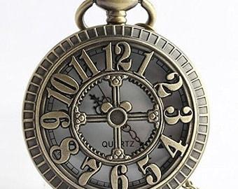 1pcs/ 45mm ,Retro Hollow 12 pocket watch Necklace Chain,Necklace Pendant,craft supply BM-42