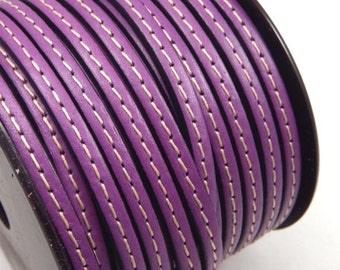 Leather flat couture purple 5mm by 20cm