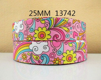 1 inch Flowers and Rainbows on Pink - STYLE 13742 - Printed Grosgrain Ribbon for Hair Bow