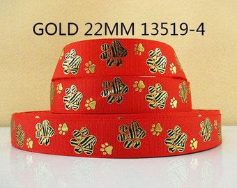 7/8 inch Animal Print Gold Tiger Paws on Red  13519-4 - Printed Grosgrain Ribbon for Hair Bow