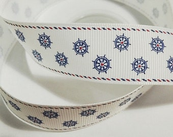 1 inch NAUTICAL WHEELS on White with Border - Printed Grosgrain Ribbon for Hair Bow