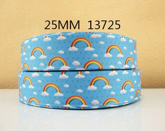 1 inch Rainbows on Light Blue 13725 - RAINBOWS - Printed Grosgrain Ribbon for Hair Bow