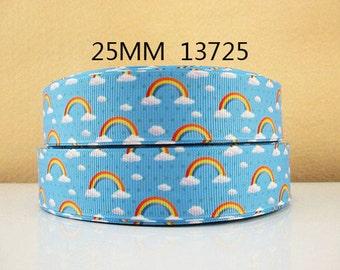 1 inch Rainbows on Light Blue 13725 - RAINBOWS - Printed Grosgrain Ribbon for Hair Bow