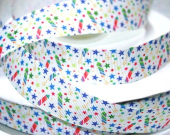 1 inch Stars and Candles - Printed Grosgrain Ribbon for Hair Bow