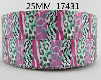 1 inch Block Zebra and Cheetah 17431 - Printed Grosgrain Ribbon for Hair Bow