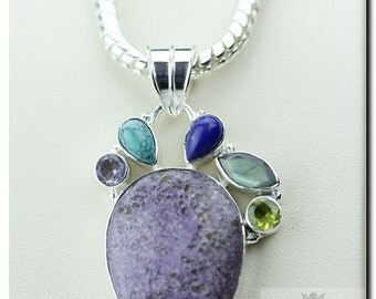 RUSSIAN CHAROITE MULTI Stone 925 Solid Sterling Silver Pendant + 4mm Snake Chain & Free Worldwide Shipping P1765