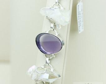 CABOCHON AMETHYST TITANIUM Drusy Cluster 925 Solid Sterling Silver Bracelet & Free Worldwide Shipping B478