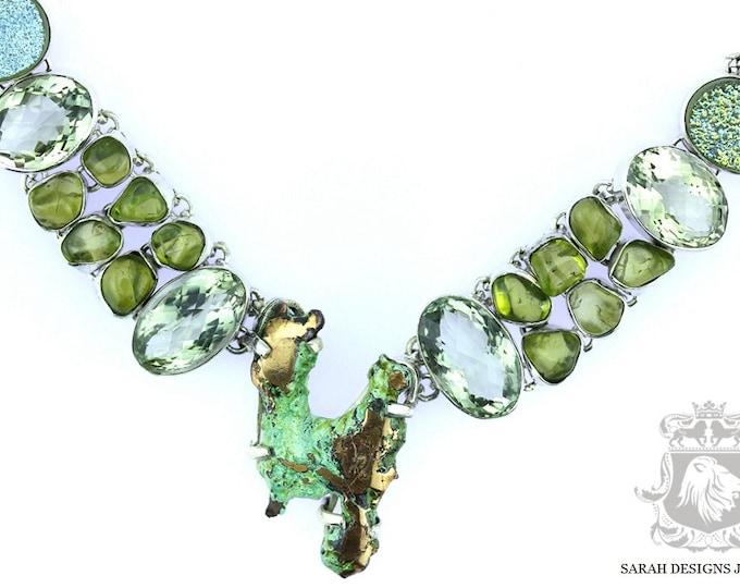 Michigan Splash Copper PRASIOLITE Peridot Drusy 925 SOLID Sterling Silver Necklace & Worldwide Shipping