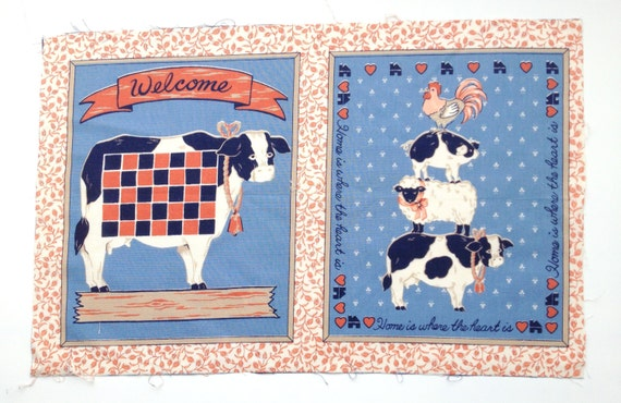 Set of 5 - Blue Farm Animal Collection Set Quilting Blocks, Pillow Panels from ...