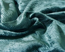 Teal green wavy velvet upholstery fabric flame retardant home decor