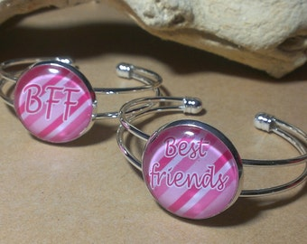 BFF and Best Friends 25mm Glass Dome Pendant Bracelet Set