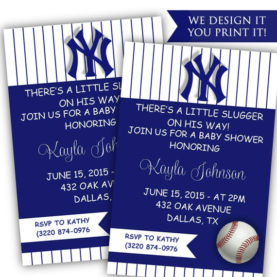 Baby Showers York ~ Printable baby shower invitation yankees by classyprintsonline