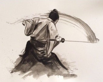 samurai ink art print