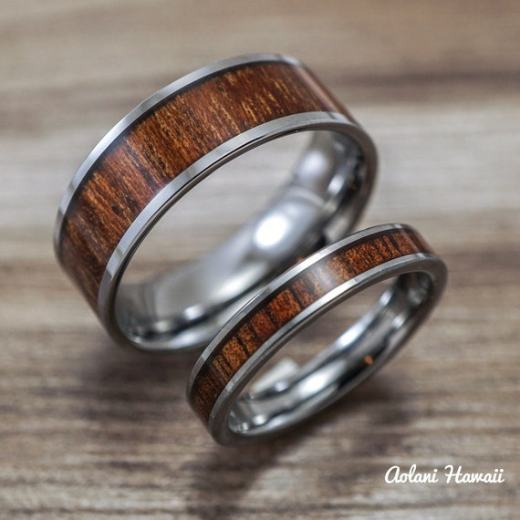 Wedding Band Set Of Tungsten Rings With Hawaiian By AolaniHawaii