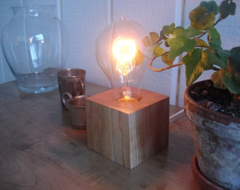 Cherry cube table lamp with Edison old world bulb and with an BUILT-IN DIMMER switch