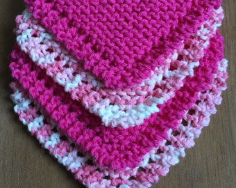 Knit Washcloths | Dishcloths | Facecloths | Pink & White | Baby Shower Gift