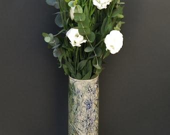 Ceramic hand built, decorated vase.  Home decor. Flower arrangment. House warming