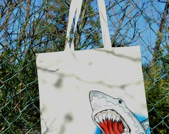 handpainted canvas bag with traditional tattoo shark head