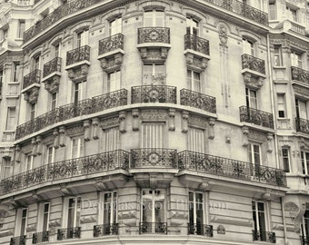 Paris Digital Photograph Hotel Black and White Old Building Wrought Iron Architectural