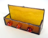 Honey Gold Stained Glass Business Card Holder w Three Glass Nuggets