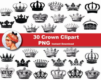 30x Crown Clipart - printable Digital Clipart Graphic Instant Download (No. 55)