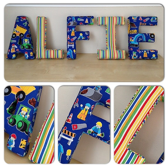 Wall letters fabric letters nursery by lovelettersbyesther for Fabric covered letters for nursery
