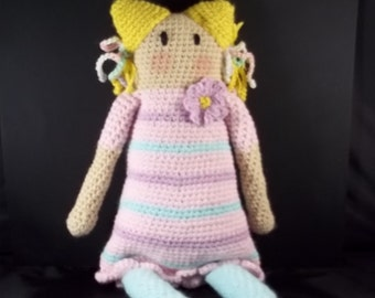 """HOLIDAY 2017 SALE!! 18"""" Old Fashioned Rag Doll Style Crocheted Doll  - Pink/Lavender"""