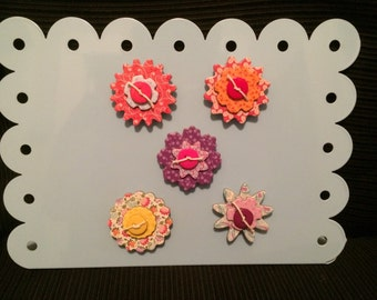 Chipboard and button flower magnets 5 in the set