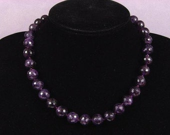 Necklace Dark Amethyst 12mm Facet Round Beads NSAT4194