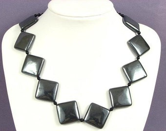 Necklace Hematite 32mm Diamonds 925 NSHM3074