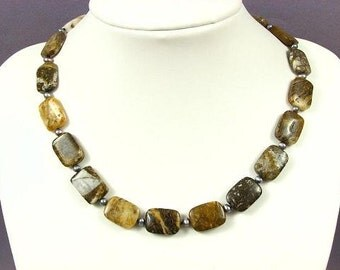 Necklace Opal Jasper 18mm Pillows 925 NSJO3025