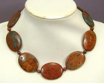Necklace Rainbow Jasper 40mm Flat Ovals NSJR5541