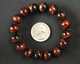 Bracelet Red Tiger Eye 12mm Round stretch BSTE0939