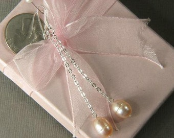 """earrings FW Champagne Pearls 9x11mm Rice 3"""" Chained EHPC0164"""