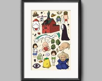 Studio Ghibli Spirited Away Characters Doodle Poster