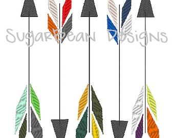 Arrows Embroidery Design. Two Sizes Included. Feathered Arrows Machine Embroidery Design.