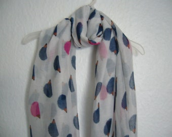 Hedgehog Scarf, White Multi Colour Hedgehog Scarf, For Her, Spring Summer Scarf, Animal Scarf