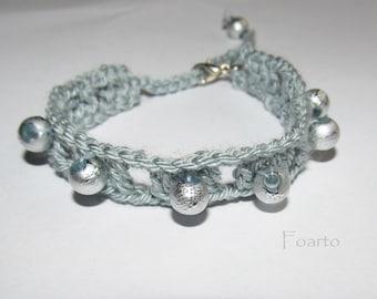 Gray Bracelet Crochet bracelet with beads adjustable bracelet for women gifts under 10 gift ideas for her gray jewelry for women (CB-8)